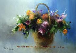 Цветы в корзине и 21-о кофейное зёрнышк