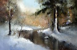 Зимний пейзаж с одиноким снегирём