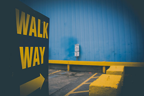 blue, yellow, downtown, street, city, parking lot, hamilton, ontario, bright, colour, colourful, type, font, text, walk, way