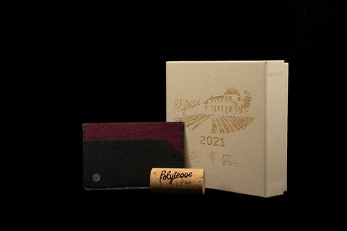 Porte cartes cuir raisin & liège numéroté