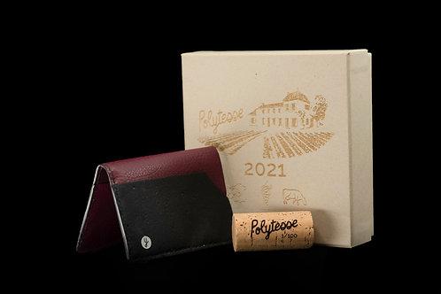 Porte cartes & billets double cuir raisin & liège numéroté