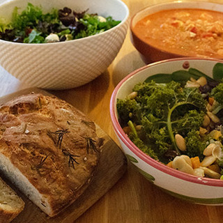 Homemade nutritious meals prepared by hosts Kim and Alex. 2 options for most meals, including vegetarian options.