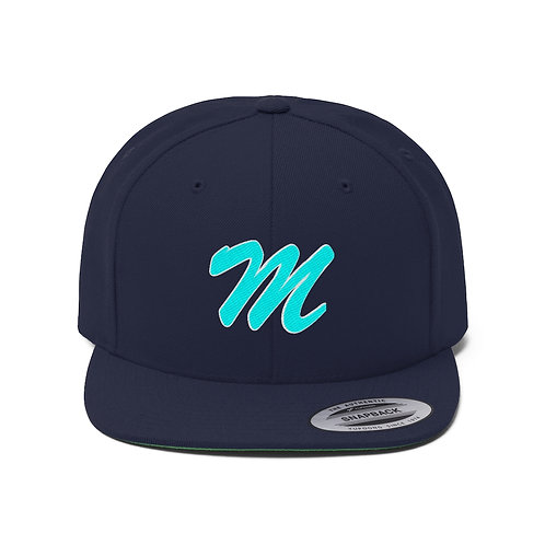 Unisex Flat Bill Hat Musique Magazine sport logo Blue