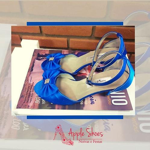 Sandália em Cetim Azul Royal