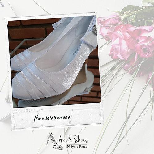 Sapato de Noiva Branco Cetim Branco Cristal