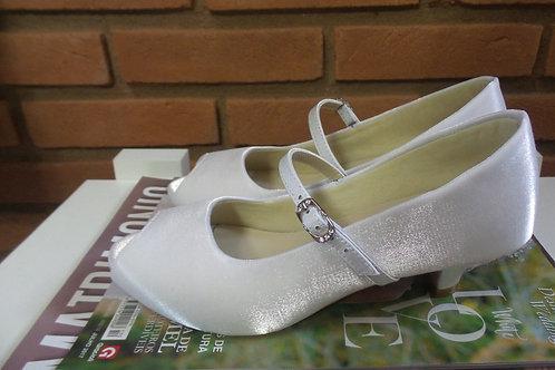 Peep Toe Noiva Branco Salto Baixo