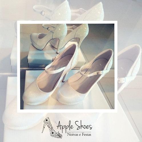 Sapato Bico Redondo Noiva Branco Cetim Meia Pata