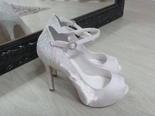 Sapato Noiva Cetim Salto Alto Plataforma