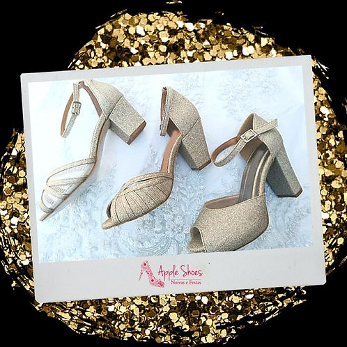 Trocar Sapatilha Glitter Dourado Bico Fino