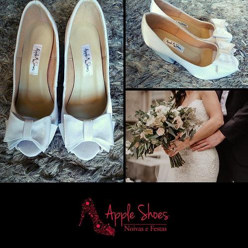 Peep Toe de Noiva Branco Salto Bloco