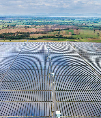 Aerial view of large farm of solar panel