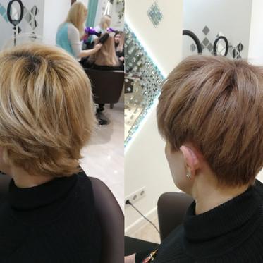 korotkaya strijka blondinka rozovi