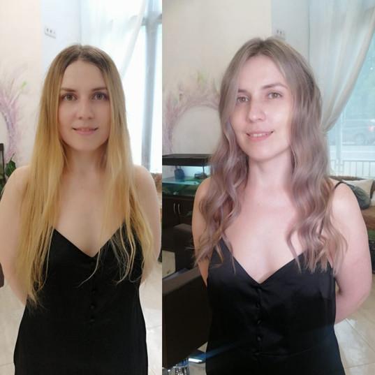 ombre blondinka okrashivanie
