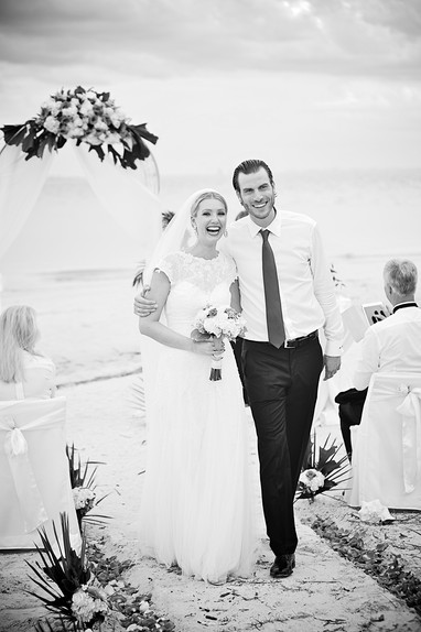 Bride and groom just married on the beach in Florida.