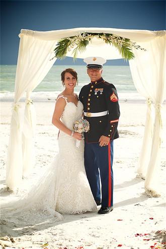 Bridal couple portrait on Lido Beach