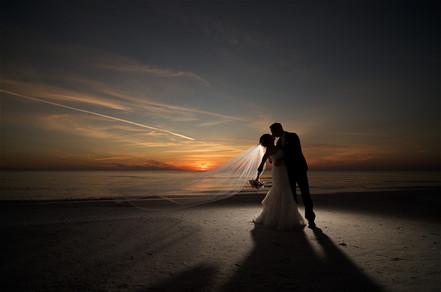 Sunset beach wedding in Sarasota florida