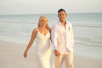 Bride and groom on the beach at a sarasota florida wedding