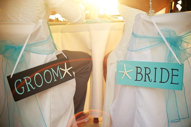 Bride and groom beach wedding decor.