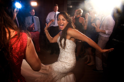 Cutting a rug at her wedding reception at the Beach House on Anna Naria Island, Florida.