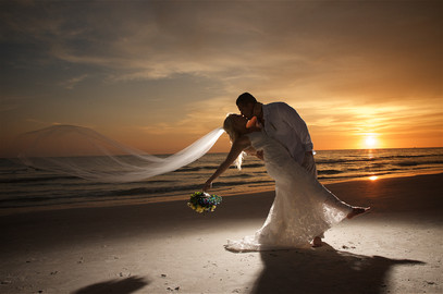 Sunset beach portrait for the new Mr. & Mrs.