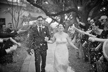 Bride and groom leaving their St. Petersburg florida wedding.