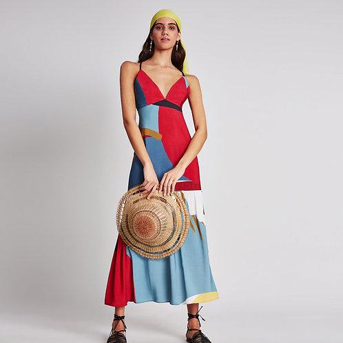 Vestido midi con estampado de silueta y abertura en la espalda