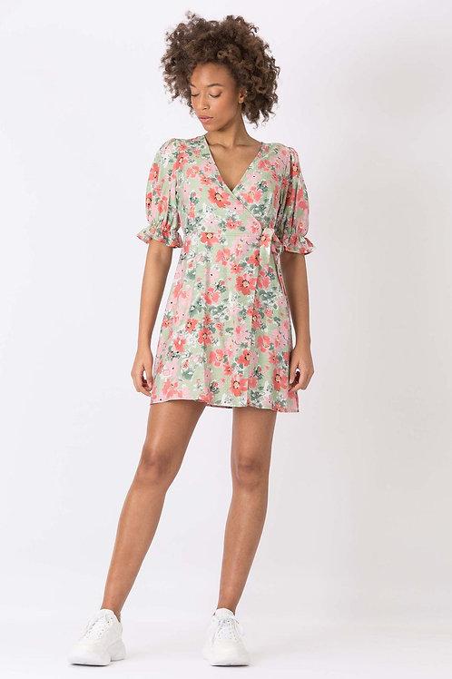 Vestido Textura Estampado Floral