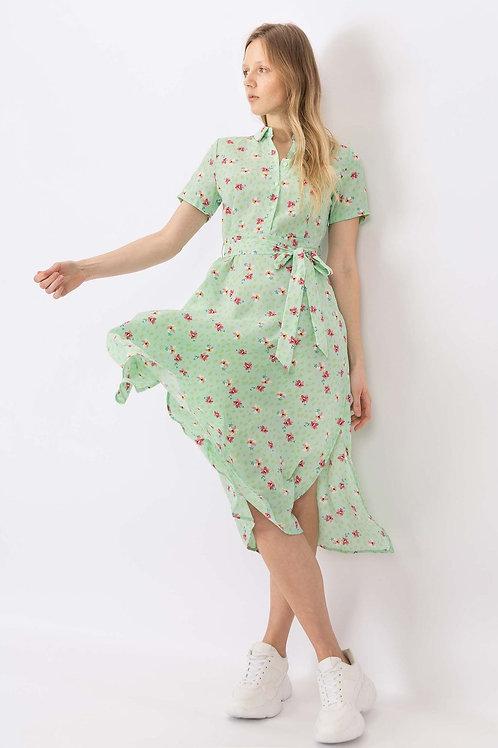 Vestido camisero floral c/ cinturón