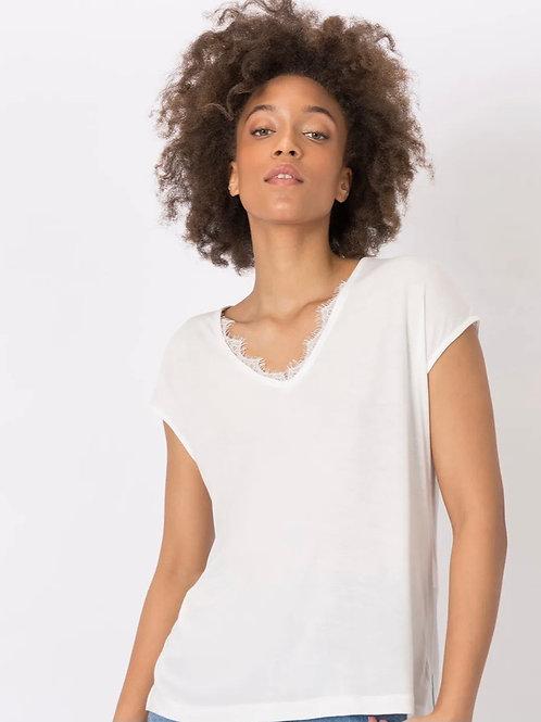 Camiseta combinada c/ encaje