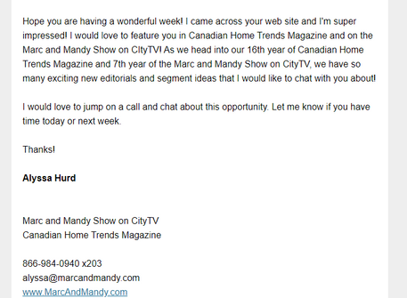 Email From Mark & Mandy