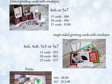 Holiday Session Pricing