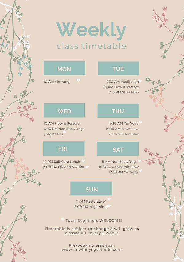 Weekly Schedule Unwind Yoga Studio Maidenhead