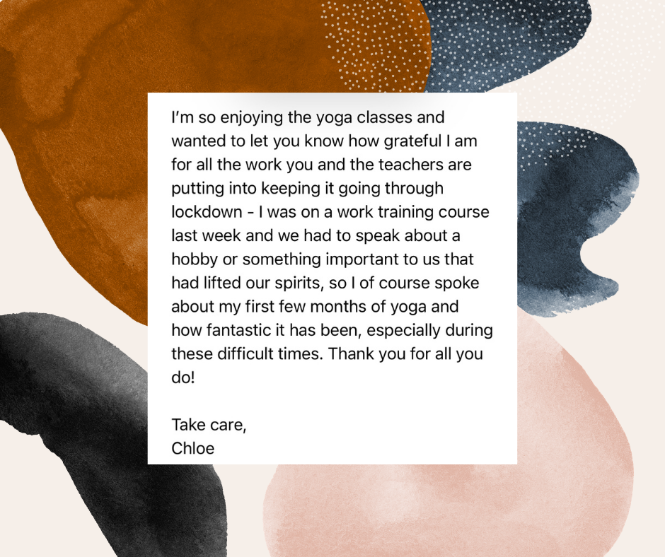 Testimonial for Unwind Yoga Studio