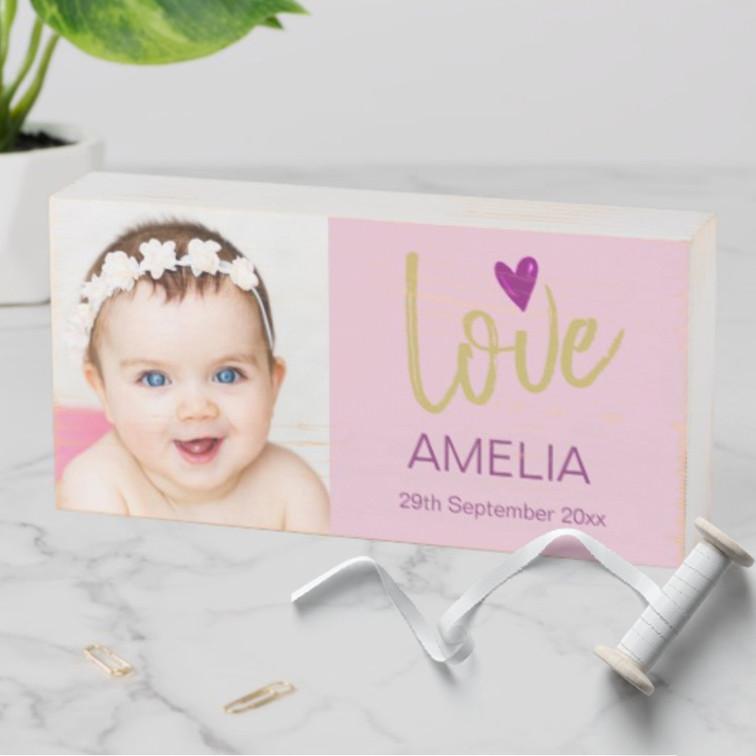 baby naming baby shower custom photo block