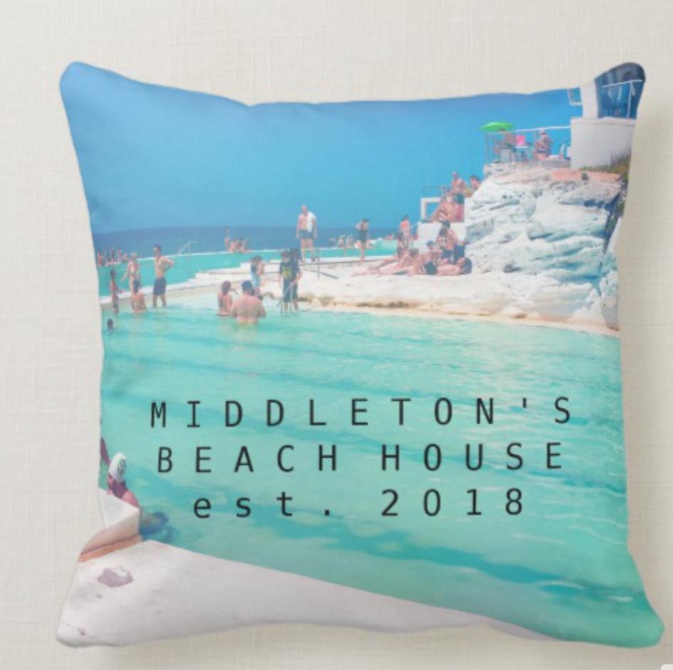 Beach Ocean Pool Blue Aqua Personal Family Throw Pillow