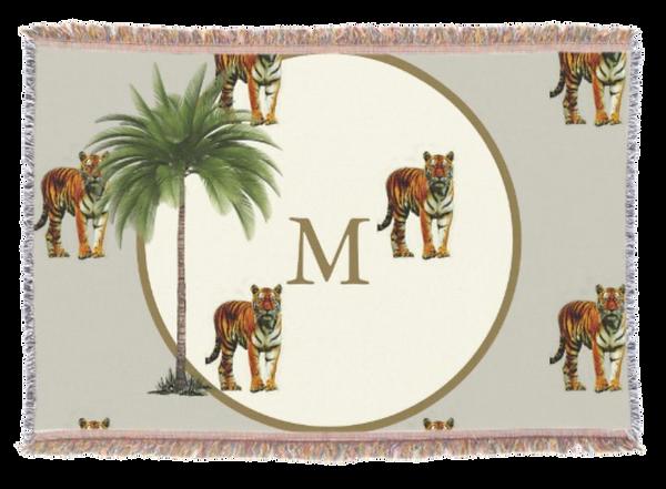 Tiger pattern throw rug Monogram custom personal home decor