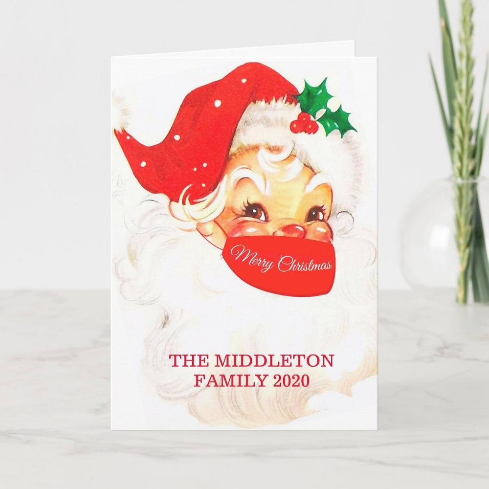 Christmas Santa in a mask Merry Christmas Corona virus social distancing christmas custom greeting card. Zazzle made
