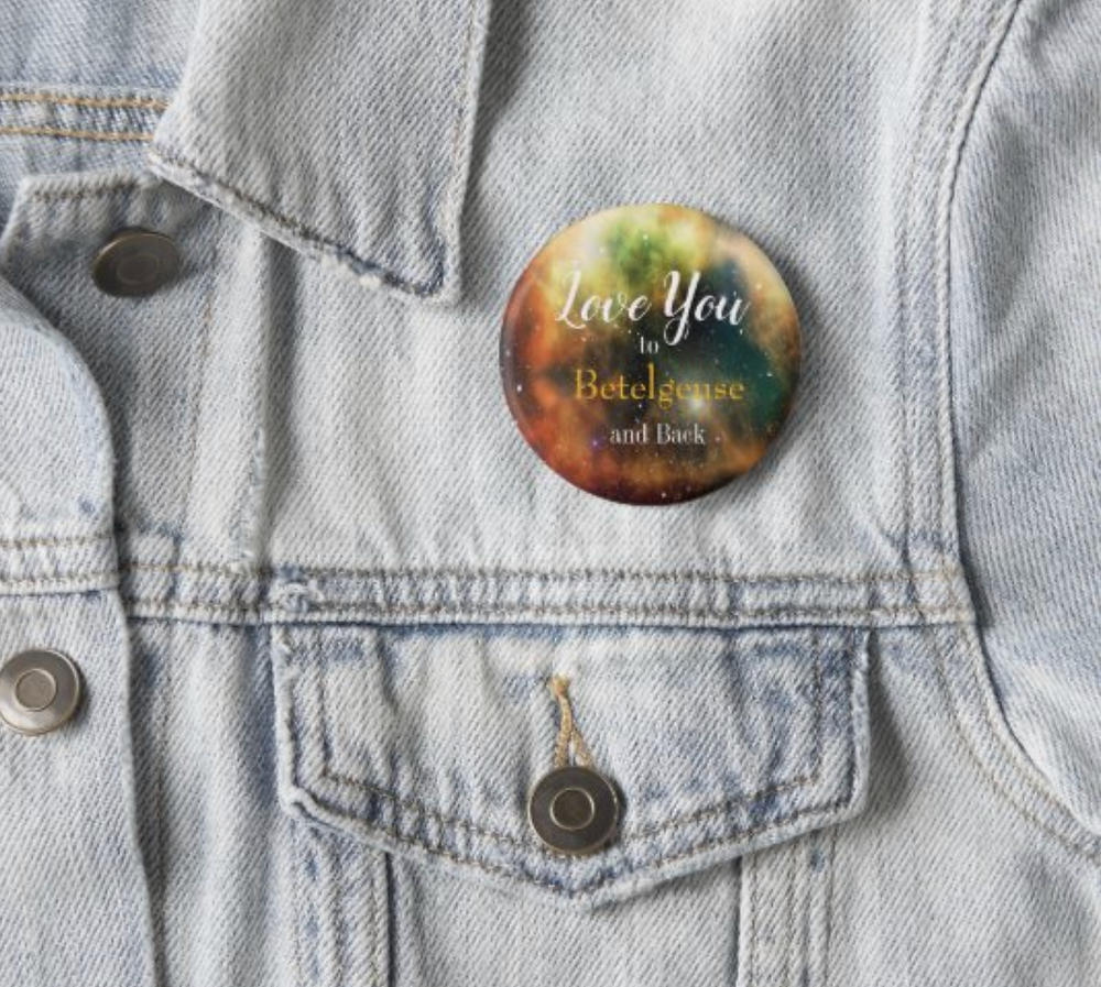 valentine day love you to the moon and back custom personal  button pin