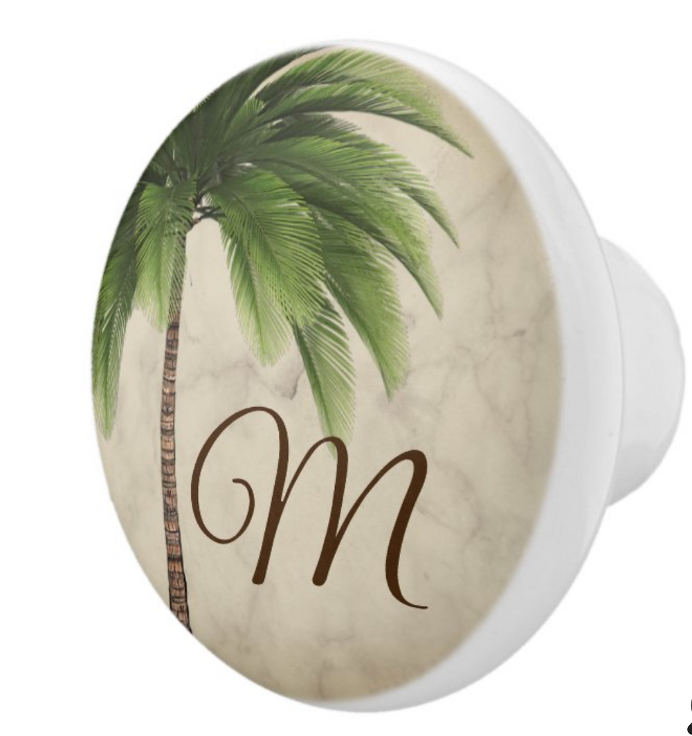custom home decor topical vintage palm tree draw pull zazzle made