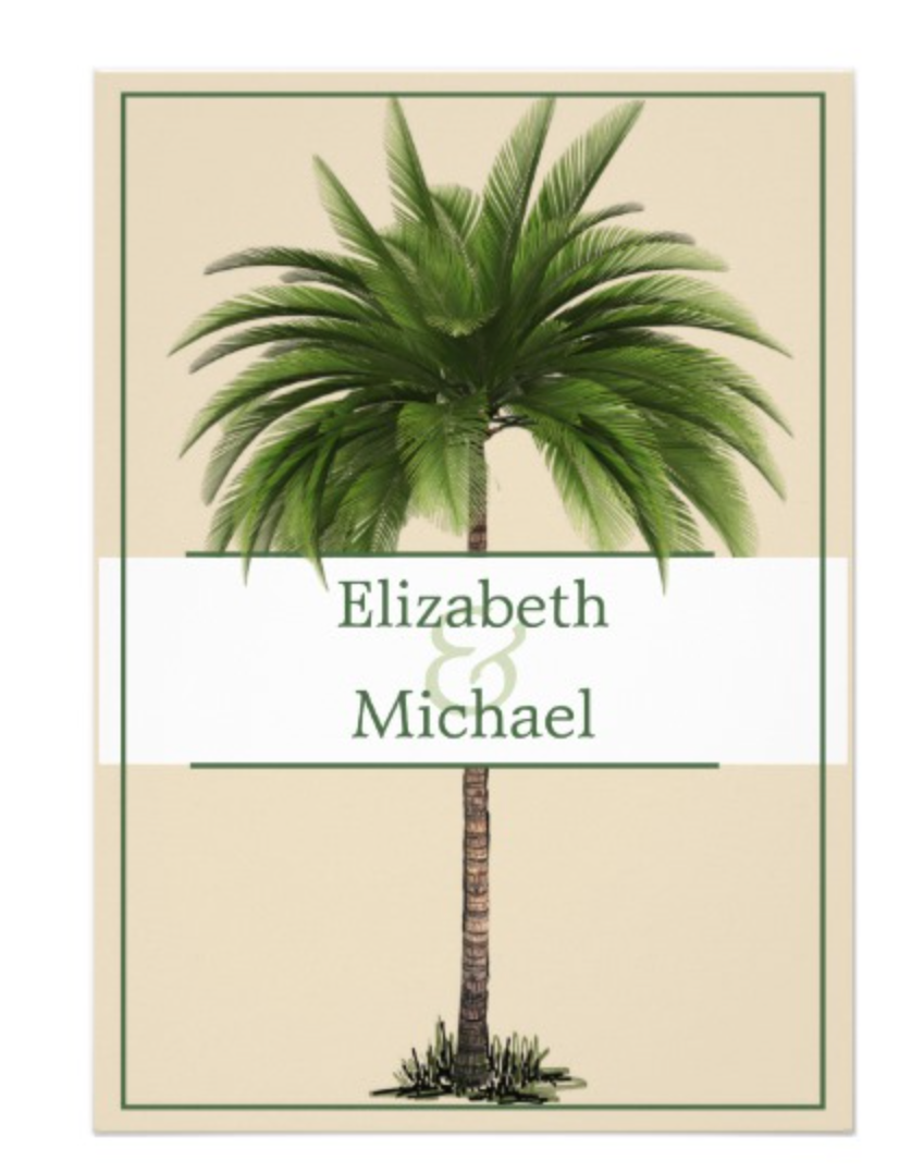 Palm Tree Elegant Modern Chic  wedding invitation