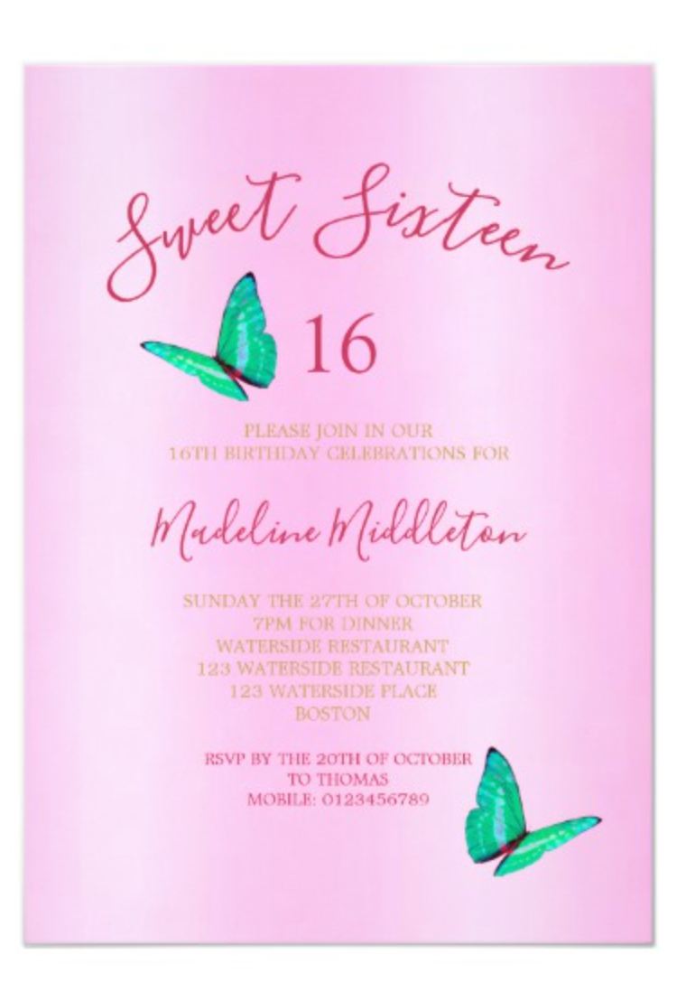 Sweet Sixteen Birthday custom invitation in pink with butterflies