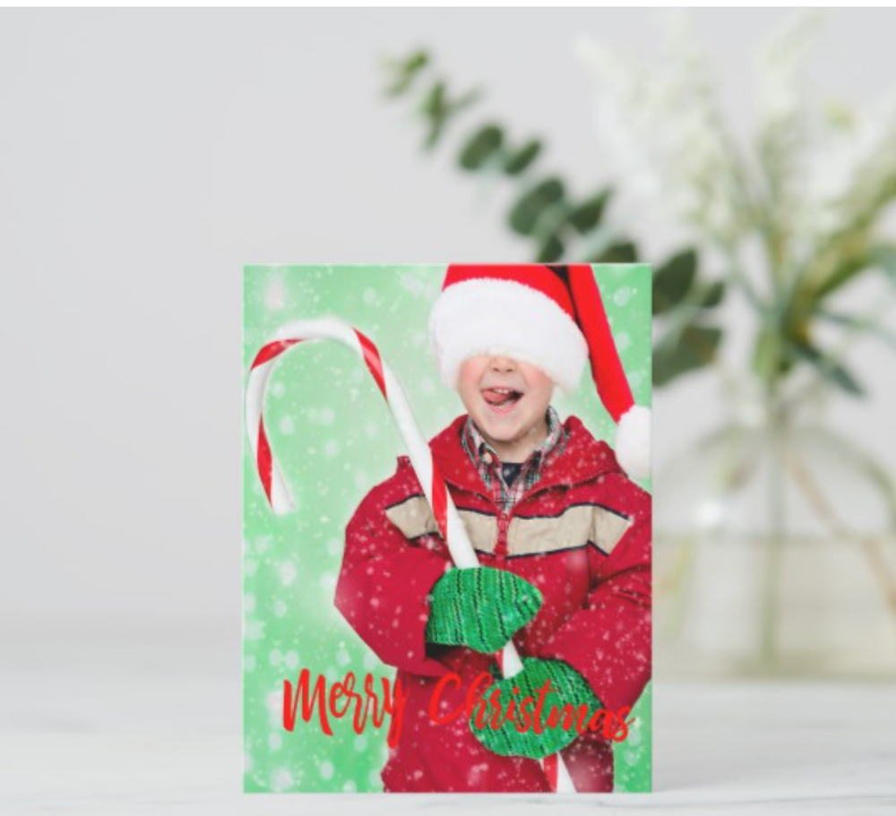 Holiday Photo Merry Christmas Greeting Postcard by Just_Fine_Designs