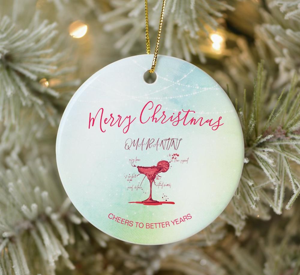 funny corona virus christmas  greeting cocktail quarantini custom ornament