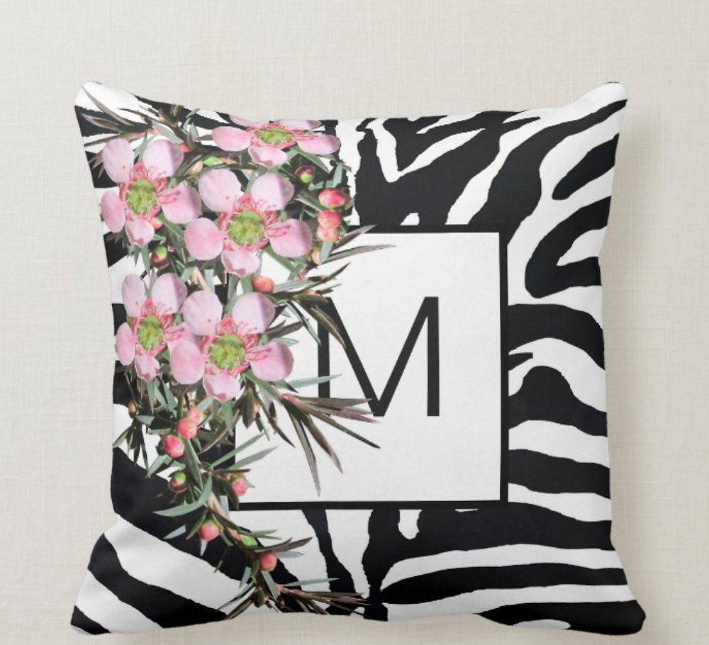 custom monogram throw pillow zebra wildflowers zazzle