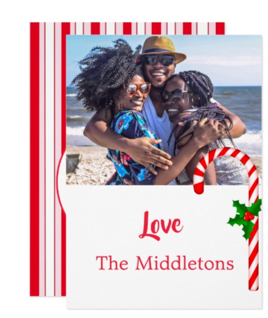 Christmas Family Photo Holly Red Candy Stripe Invitation by Just_Fine_Designs