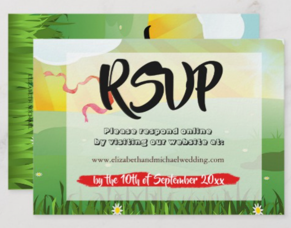 festival wedding custom wedding RSVP card