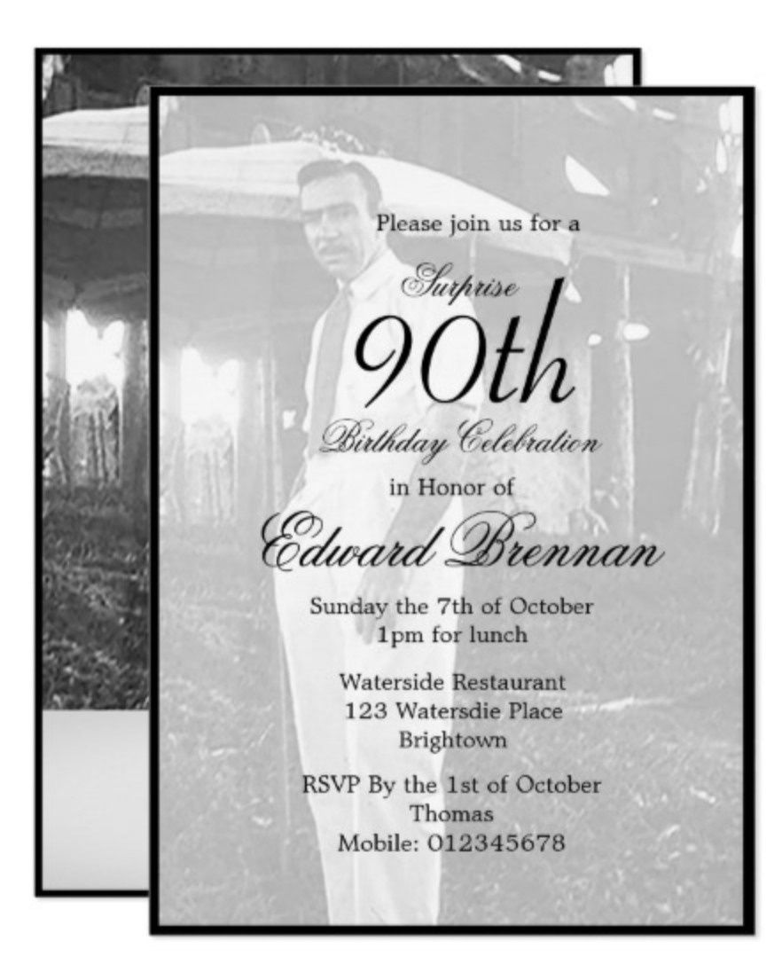 90th birthday custom invitation milestone birthday party