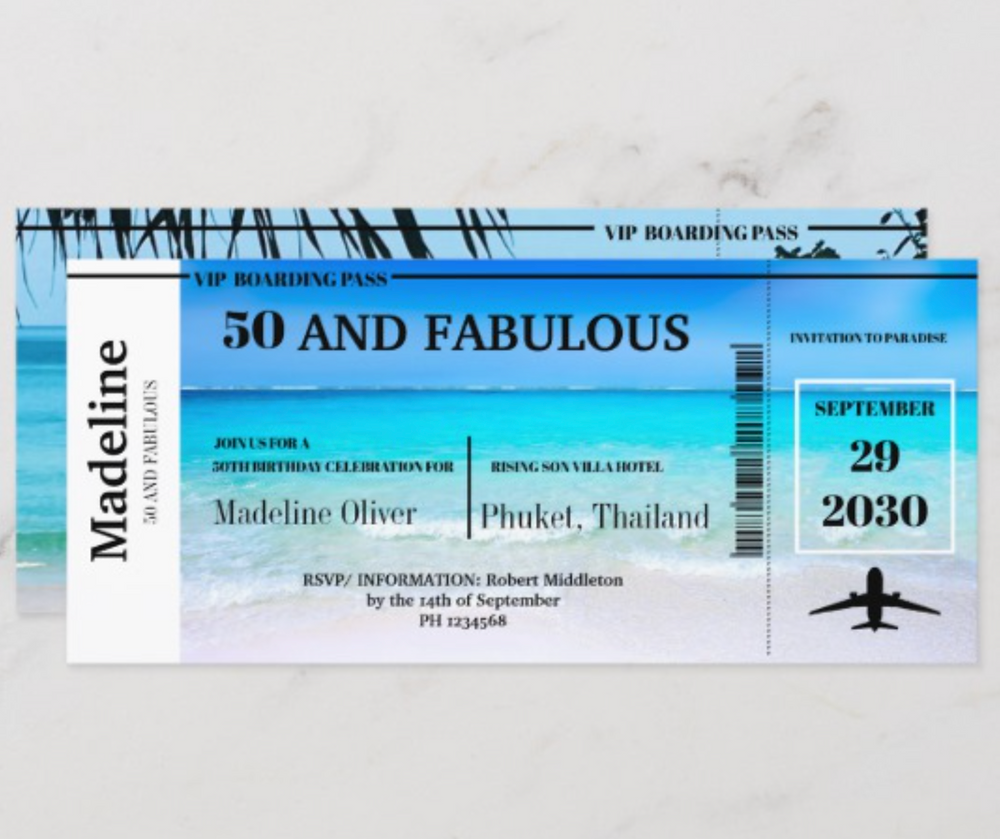 50 and Fabulous custom destination birthday invitation airline ticket