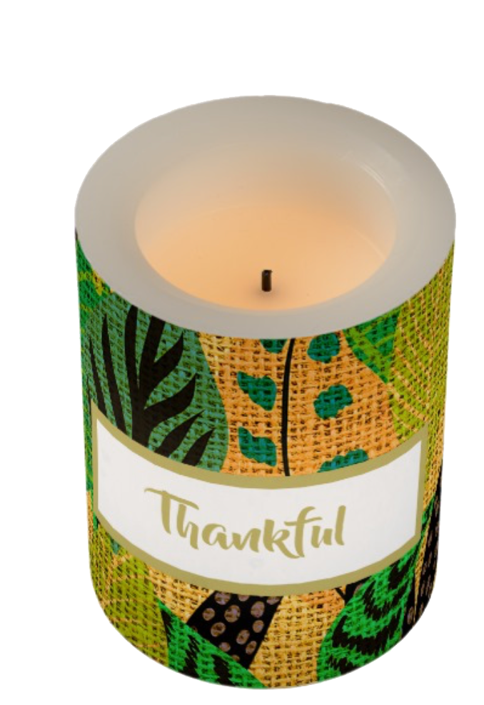 thanksgiving rustic autumn leaves custom table candle