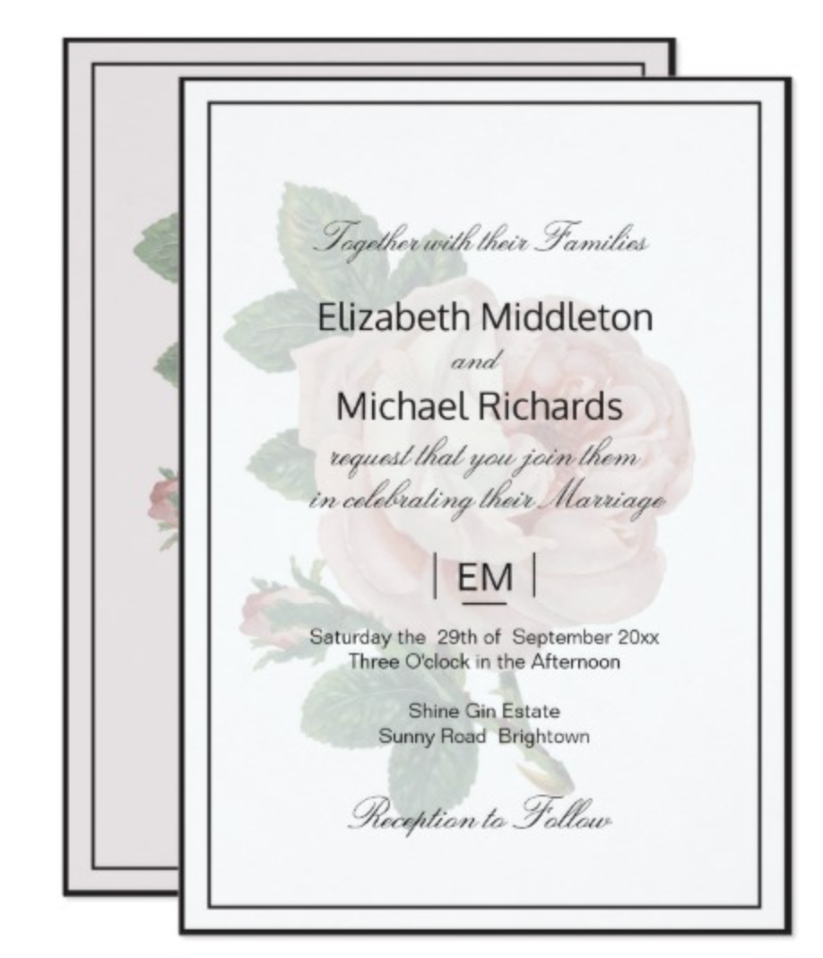 Elegant Vintage Rose Blush Wedding Invitation